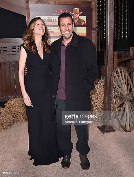 Jackie Sandler and actor Adam Sandler attend the premiere of Netflix's The Ridiculous 6 at AMC Universal City Walk on November 30 2015 in Universal...