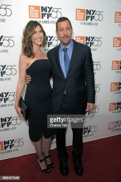 Jackie Sandler and Adam Sandler attend Meyerowitz Stories screening during the 55th New York Film Festival at Alice Tully Hall on October 1 2017 in...