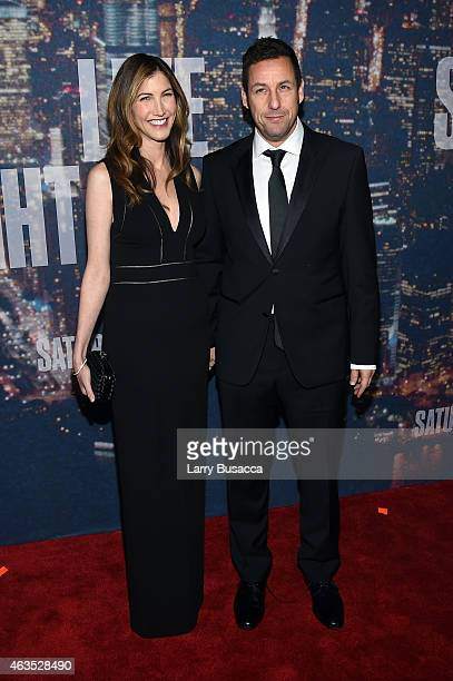 Jackie Sandler and Adam Sandler attend SNL 40th Anniversary Celebration at Rockefeller Plaza on February 15 2015 in New York City