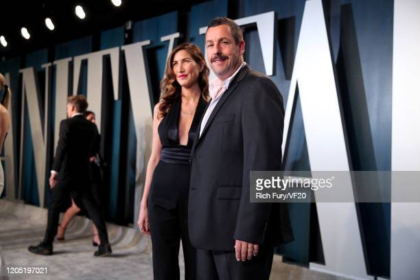 Jackie Sandler and Adam Sandler attend the 2020 Vanity Fair Oscar Party hosted by Radhika Jones at Wallis Annenberg Center for the Performing Arts on...