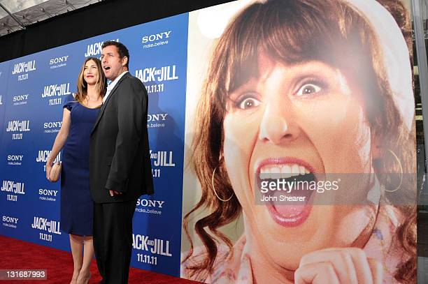 Jackie Sandler and Adam Sandler attend the Jack And Jill Los Angeles Premiere at Regency Village Theatre on November 6 2011 in Westwood California