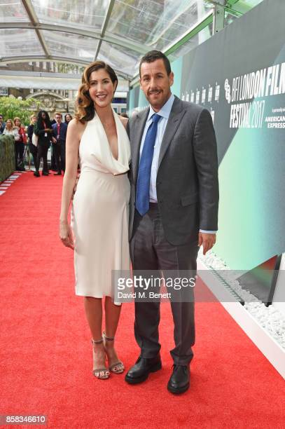 Jackie Sandler and Adam Sandler attend the Laugh Gala UK Premiere of The Meyerowitz Stories during the 61st BFI London Film Festival at Embankment...