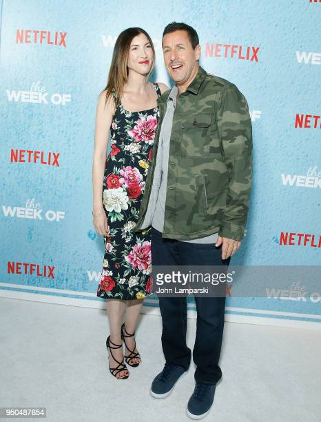 Jackie Sandler and Adam Sandler attend The Week Of New York premiere at AMC Loews Lincoln Square on April 23 2018 in New York City