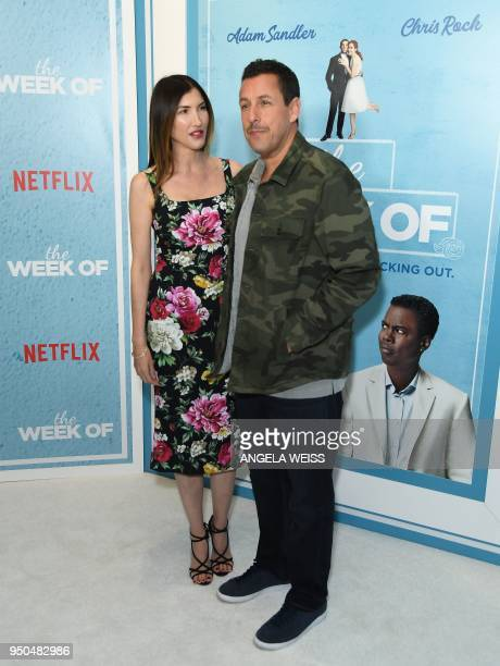 Jackie Sandler and Adam Sandler attend the World Premiere of the Netflix film 'The Week Of' at AMC Loews Lincoln Square 13 on April 23 2018 in New...