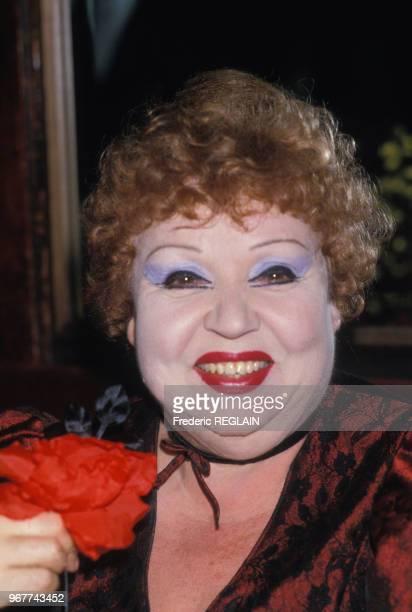 Jackie Sardou, actrice, le 28 mai 1985 à Paris, France.