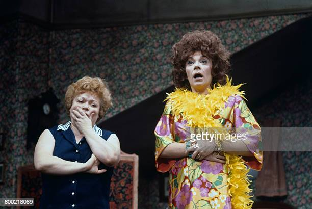 "Jackie Sardou and Filipina on stage in the play ""The white queen""."