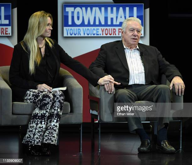 Jackie Siegel and Westgate Resorts Founder and CEO David Siegel speak during a town hall meeting on the opioid crisis as part of first lady Melania...