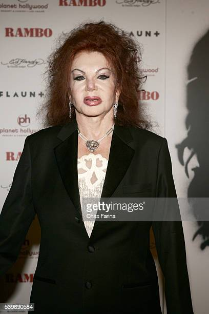 Jackie Stallone arrives at the world premiere of the movie Rambo held at the Planet Hollywood Resort and Casino in Las Vegas