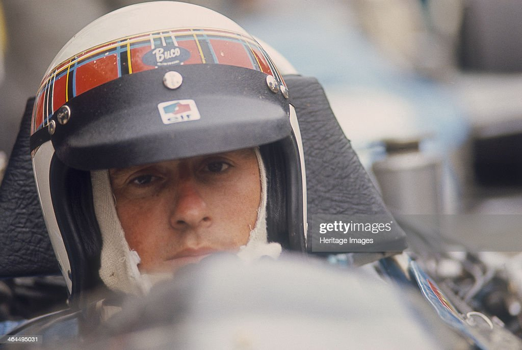 Jackie Stewart at the wheel of a racing car. : News Photo
