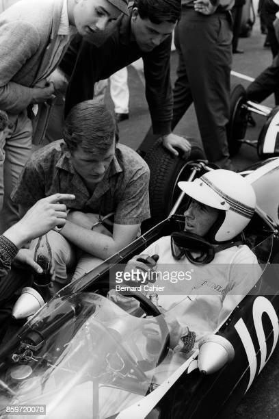 Jackie Stewart CooperBMC T72 French Grand Prix Formula 3 Support race RouenLesEssarts June 28 1964 Jackie Stewart at the finish after his victory in...