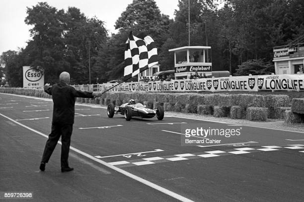 Jackie Stewart CooperBMC T72 French Grand Prix Formula 3 Support race RouenLesEssarts June 28 1964 Jackie Stewart taking the checkered flag and...