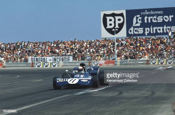 Jackie Stewart corners the Tyrrell on the back of the very flat seaside circuit at Le Castellet during the French Grand Prix 4th July 1971 He started...