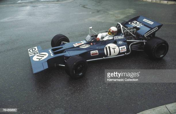 Jackie Stewart driving the 001 Tyrrell at the Loew's Hairpin during a wet practice session for the Monaco Grand Prix Monte Carlo 23rd May 1971