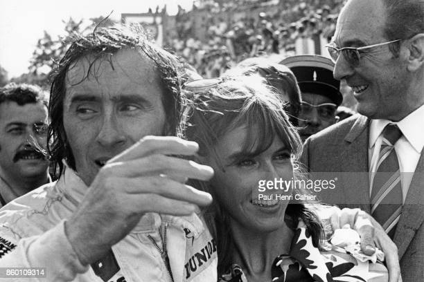 Jackie Stewart Helen Stewart Grand Prix of France Charade Circuit July 6 1969 Jackie Stewart and wife Helen Stewart after the Scot's win in the 1969...