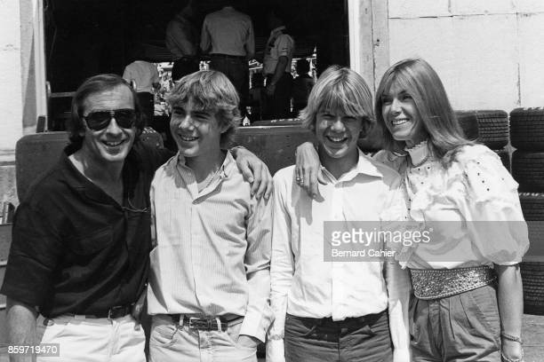 Jackie Stewart Helen Stewart Paul Stewart Mark Stewart Grand Prix of Great Britain Brands Hatch July 18 1982 The Jackie Stewart family visiting...