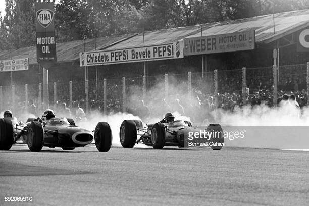 Jackie Stewart John Surtees BRM P261 Ferrari 1512 Grand Prix of Italy Autodromo Nazionale Monza 12 September 1965 Jackie Stewart and John Surtees at...