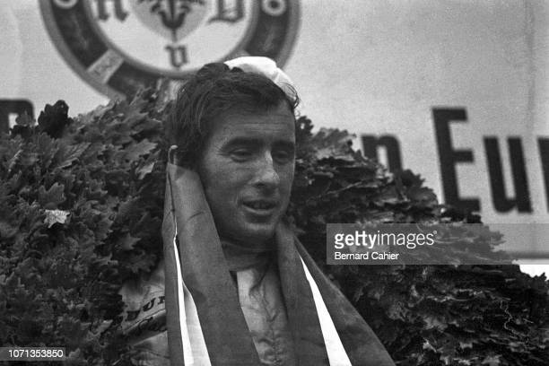 Jackie Stewart, Matra-Ford MS10, Grand Prix of Germany, Nurburgring, 04 August 1968. Jackie Stewart on the podium after his great victory in the 1968...