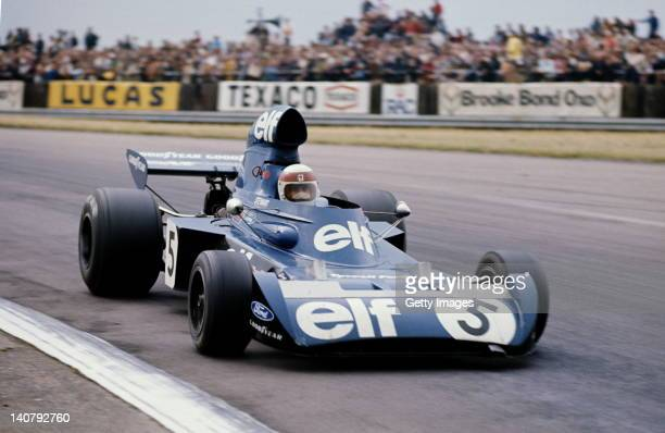Jackie Stewart of Great Britain drives the Elf Team Tyrrell Tyrrell 006 Ford Cosworth DFV during the British Grand Prix on 14th July 1973 at the...