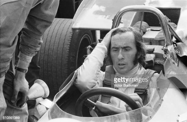 Jackie Stewart sits in his Matra car before the race Great Britain Silverstone 1969