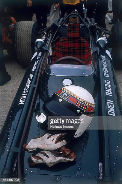 Jackie Stewart's racing helmet and gloves British Grand Prix 1967 Resting on a BRM car of the Owen Racing Organisation for whom Stewart drove in his...
