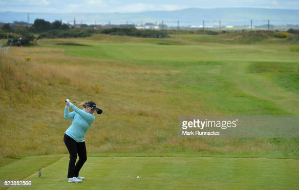 Jackie Stoeling of USA plays her tee shot to the 7th hole during the second day of the Aberdeen Asset Management Ladies Scottish Open at Dundonald...