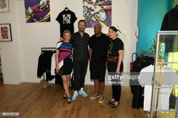 Jackie Swerz Brian Igel Kareem Burke and Stacy Igel attend the Boy Meets Girl Black Label X Smiley Original as part of Paris Fashion Week on June 23...