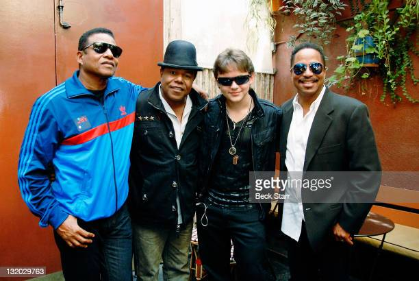 """Jackie, Tito, Prince Michael and Marlon Jackson attend Jackson's signing of limited edition """"Thriller"""" and """"Beat It"""" jackets from The J5 Collection..."""