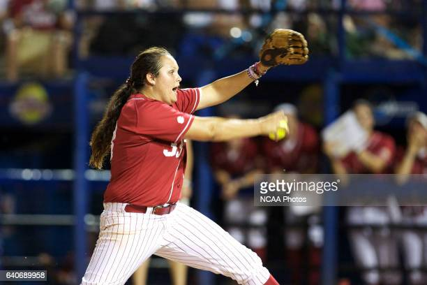 Jackie Traina of the University of Alabama pitches against the University of Oklahoma during the Division I Women's Softball Championship held at ASA...