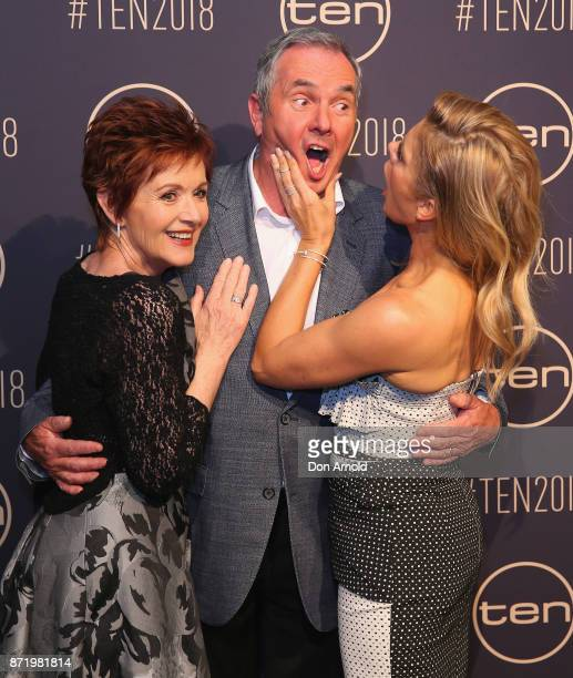 Jackie Woodbourne, Alan Fletcher and Natalie Bassingthwaighte pose during the Network Ten 2018 Upfronts on November 9, 2017 in Sydney, Australia.