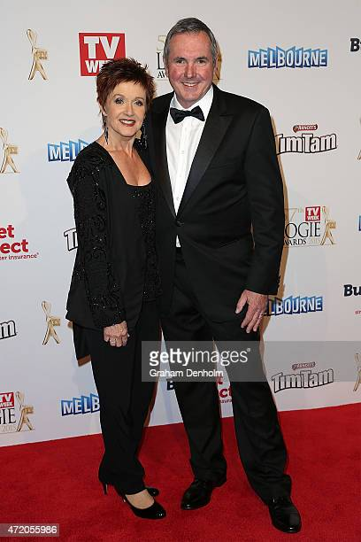 Jackie Woodburne and Alan Fletcher arrive at the 57th Annual Logie Awards at Crown Palladium on May 3 2015 in Melbourne Australia
