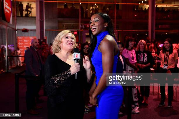 Jackie Young is interviewed by the media after being drafted number one overall by the Las Vegas Aces 2019 WNBA Draft on April 10 2019 at Nike New...