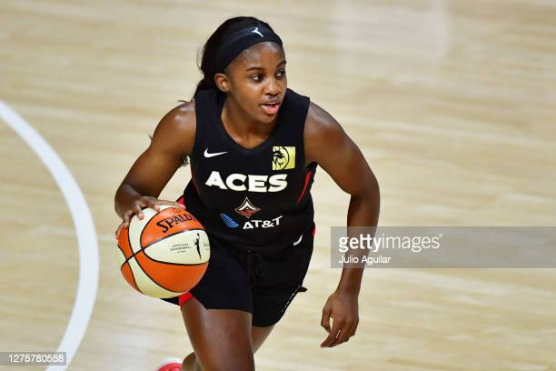 Jackie Young of the Las Vegas Aces dribbles during the second half against the Connecticut Sun in Game 2 of their Third Round playoffs at Feld...