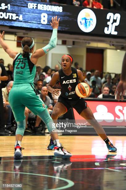 Jackie Young of the Las Vegas Aces looks to pass the ball during the game against Asia Durr of the New York Liberty on JULY 7 2019 at the Westchester...