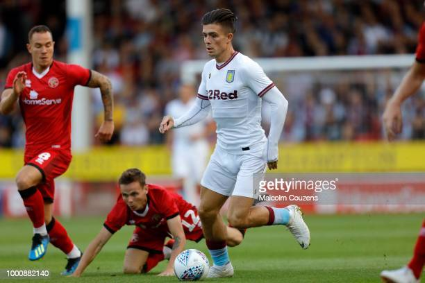 Jackk Grealish of Aston Villa runs with the ball during the preseason friendly between Walsall and Aston Villa at the Banks' Stadium on July 17 2018...