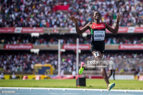 Jackline Wambui of Kenya celebrates in the girls 800m during day 5 of the IAAF U18 World Championships at Moi International Sports Centre Kasarani...