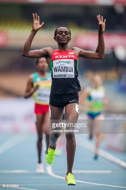 Jackline Wambui of Kenya competes in the girls 800m during day 2 of the IAAF U18 World Championships at Moi International Sports Centre Kasarani...