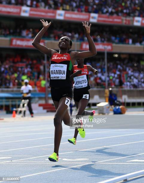 Jackline Wambui of Kenya crosses the finish line to win gold in the final of the girls 800m on day five of the IAAF U18 World Championships at The...