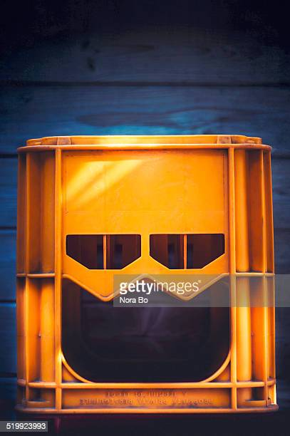 jack-o'-crate - pareidolia stock pictures, royalty-free photos & images