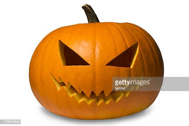 jack-o-lantern on white - scary pumpkin faces stock photos and pictures
