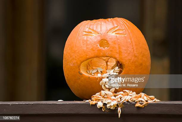 jack-o-lantern - scary pumpkin faces stock photos and pictures