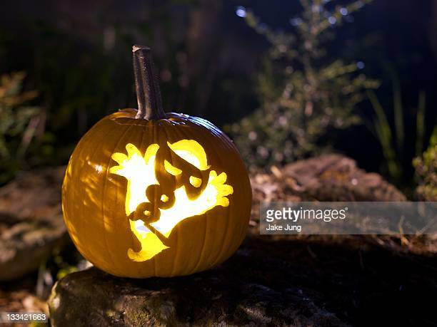 Jack-o'-lantern with ghost design