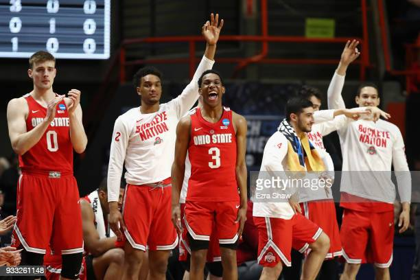 J Jackson and the Ohio State Buckeyes bench react during the second half against the Gonzaga Bulldogs in the second round of the 2018 NCAA Men's...