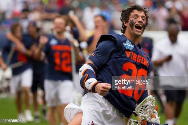 Jackson Appelt of Virginia Cavaliers celebrates after defeating the Duke Blue Devils in double overtime of the 2019 NCAA Division I Men's Lacrosse...