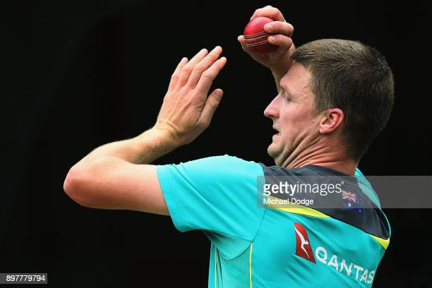 Jackson Bird bowls during an Australian nets session at the Melbourne Cricket Ground on December 24 2017 in Melbourne Australia