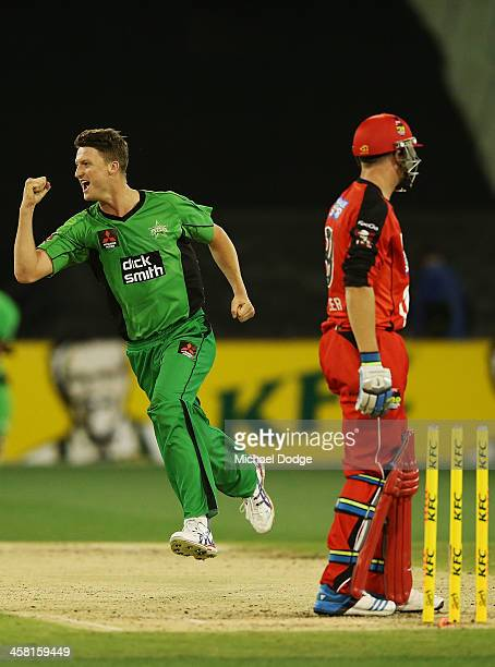 Jackson Bird celebrates after bowling out Jos Buttler of the Renegades during the Big Bash League match between the Melbourne Stars and the Melbourne...