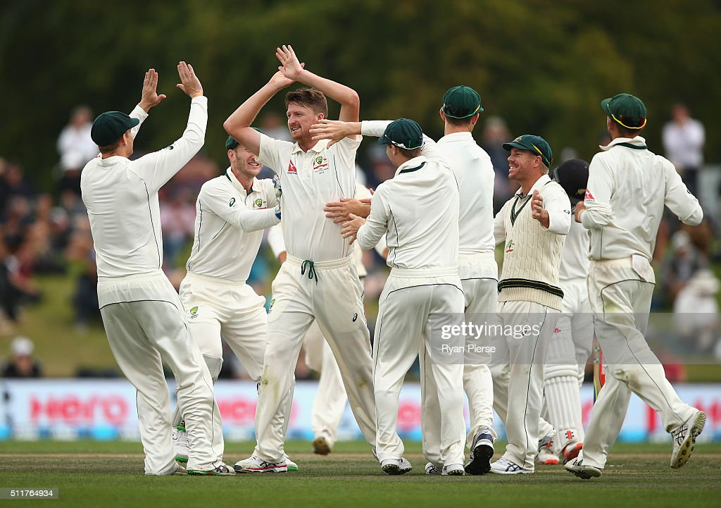Jackson Bird of Australia celebrates after taking the wicket of Kane Williamson of New Zealand during day four of the Test match between New Zealand and Australia at Hagley Oval on February 23, 2016 in Christchurch, New Zealand.