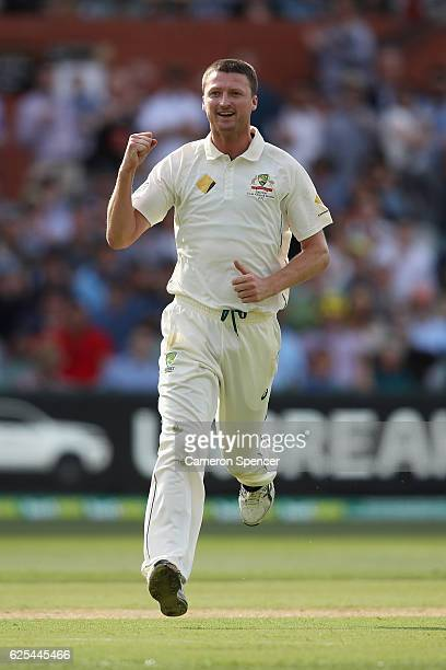 Jackson Bird of Australia celebrates dismissing Temba Bavuma of South Africa during day one of the Third Test match between Australia and South...