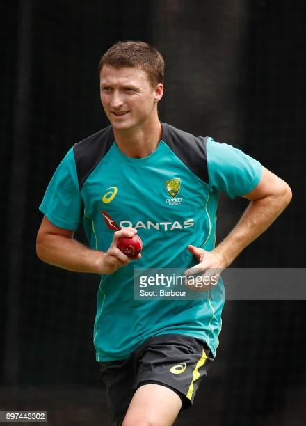 Jackson Bird of Australia prepares to bowl during an Australian nets session at the on December 23 2017 in Melbourne Australia