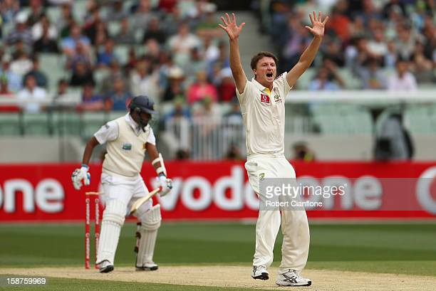 Jackson Bird of Australia takes the wicket of Thilan Samaraweera of Sri Lanka during day three of the Second Test match between Australia and Sri...