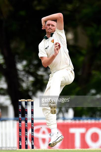 Jackson Bird of Tasmania bowls during day three of the Sheffield Shield Final match between Queensland and Tasmania at Allan Border Field on March 25...